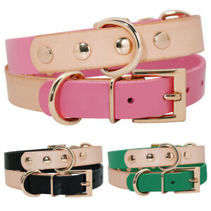 Fashion-Soft-Leather-Extra-Small-Dog-Collars-with-D-ring-Yorkie-Black-Green-Pink