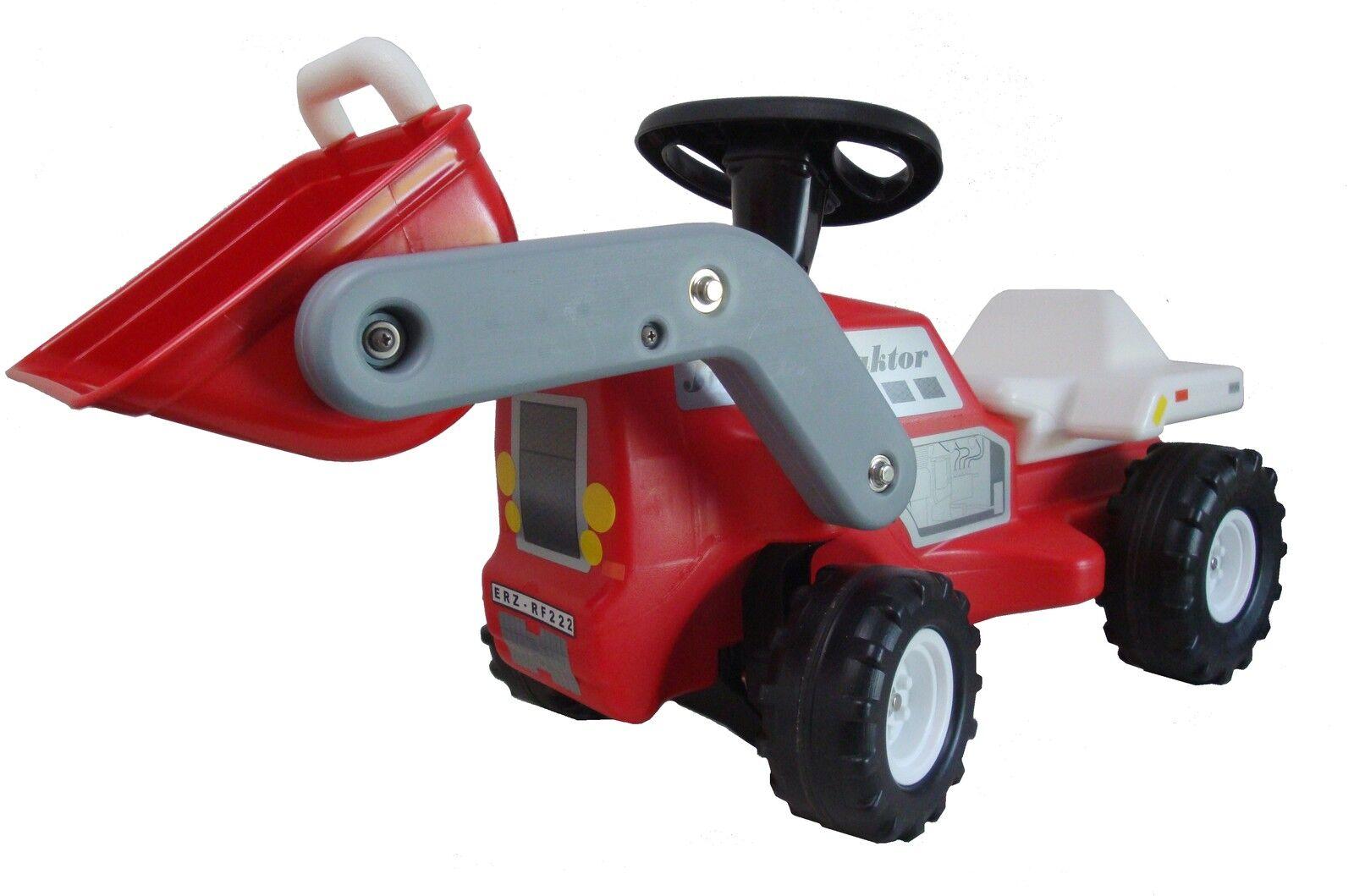 Babyrutscher Traktor rot Kinderfahrzeug Rutschauto Rutscher Plasticart reifra