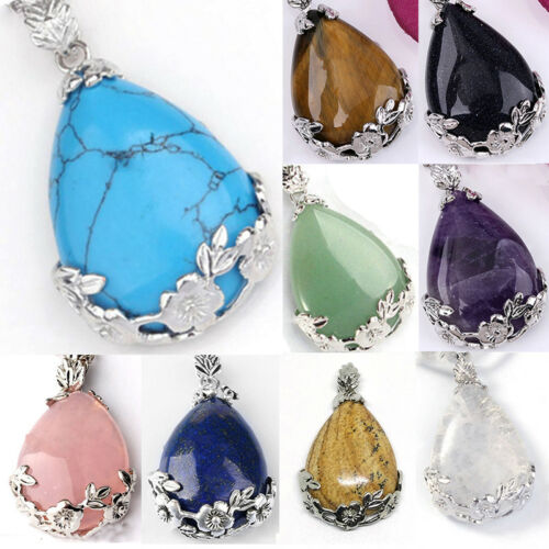 Women Natural Quartz Crystal Stone Teardrop Healing Gemstone Necklace Pendant