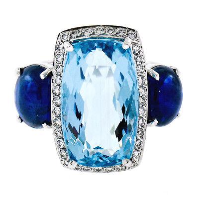 CUSTOM 14k White Gold 12.82ctw GIA Aquamarine & Sapphire Diamond 3 Stone Ring