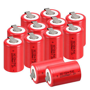 2 16x Red Ni Cd Rechargeable Battery 1 2v 2200mah Nicd 4 5