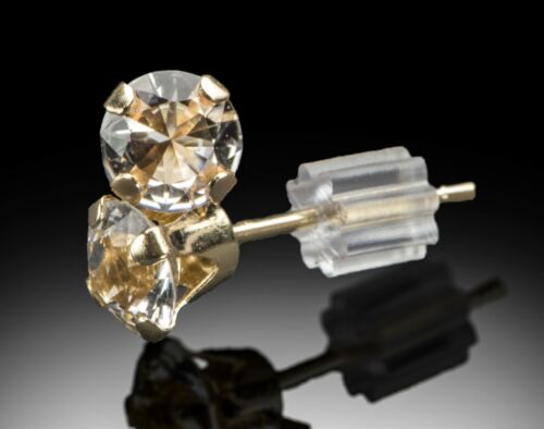 PAIR of Earrings w 4mm Round Cut Herkimer Diamonds in pure 14K GOLD .8 C