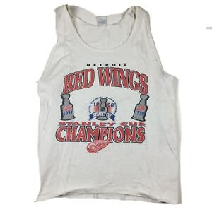 VTG-Detroit-Red-Wings-1997-amp-1998-NHL-Stanley-Cup-Champions-Tank-Top-Sz-XL