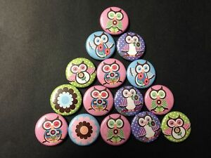 Big eye owls buttons flat back or pin badge cabochons embellishments magnet