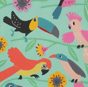 Alexander Henry Folklorico Las Plumas Tropical Birds Cotton Fabric Aqua Tea 8858