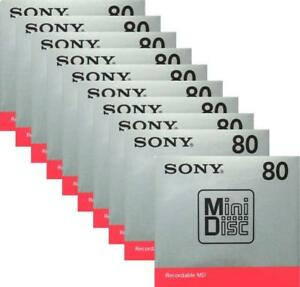 Recordable-MD-MDW80T-10-disk-set-Official-Sony-MD-Blank-Minidisc-80-Minutes