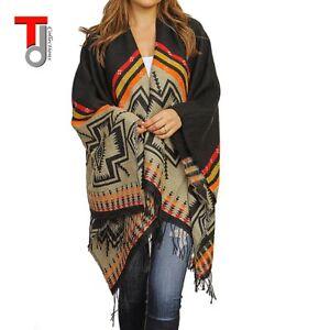 Winter-Aztec-Kimono-New-Print-Fringed-Colorful-Oversize-Poncho-Blanket-Wrap