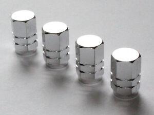 Valve-Caps-Set-of-4-Aluminium-Dust-Cap-for-Auto-Schrader-Valve-Brand-New-Silver