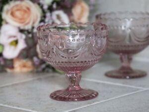 Chic-Antique-Schale-auf-Fuss-Konfektschale-rosa-Glas-Etagere-Vintage-Shabby