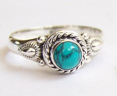 925 Sterling Silver Ethnic Ring 5mm Turquoise Handmade : Allure