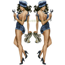 LARGE BLUE MECHANIC BABE Pin Up Girl Lethal Threat Tool Box Window Decal Sticker