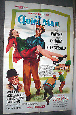 THE QUIET MAN original 27X41 one sheet movie poster JOHN WAYNE/MAUREEN O'HARA