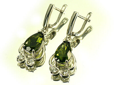 "1.45"" Moldavite 8x14mm drop CZ Rh earrings pair silver.925 - 7.75g #EAR230"