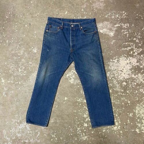 Vintage Levis 501 Button Fly Distressed Blue Jean… - image 1