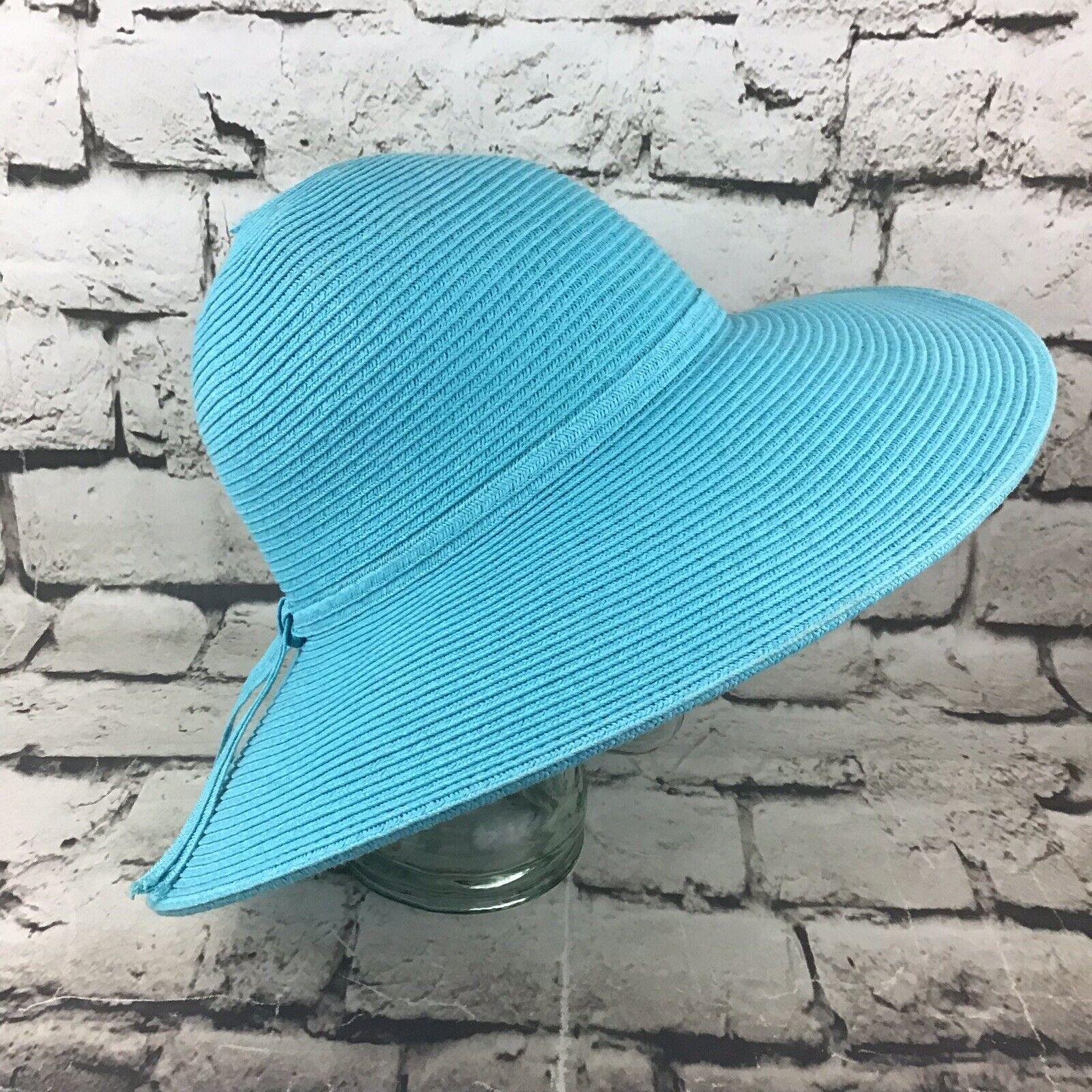 Womens OSFA Hat Sky Blue Straw Wide Brim Floppy S… - image 4