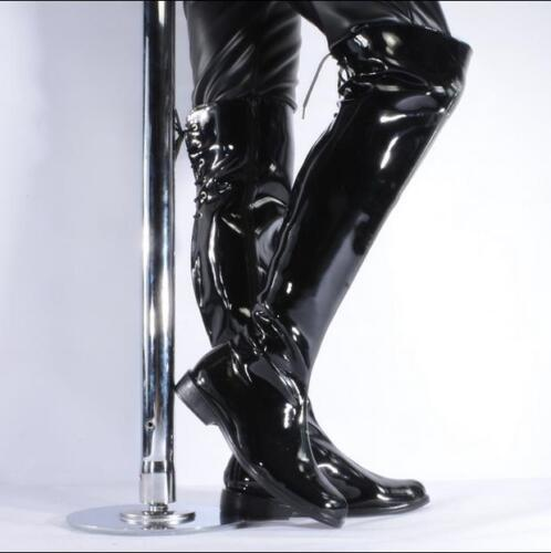 New Men/'s Motor Military patent leather zip up Over knee high top Casual Boots