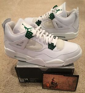 5ec7f039fa5996 Nike Air Jordan Retro 4 IV White Chrome Classic Green Size 15 New DS ...