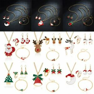 Christmas-Santa-Claus-Tree-Necklace-Earrings-Bracelet-Ring-Set-Gifts-Jewellery