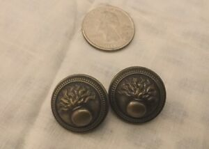 Details about 2 Antique Brass Flaming Grenade French Military Uniform  Buttons Paris Infrantry
