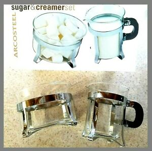 French Press Sugar Creamer Arcosteel Glass Chrome Footed Set Of 2 New Ebay
