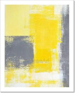 Image Is Loading Grey And Yellow Abstract Art Print Home