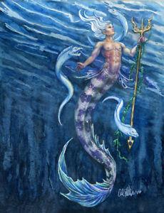 "Fantasy Art  Merman , Nautical Ocean Painting , Print  ""Deep Blue""  Eels Decor"