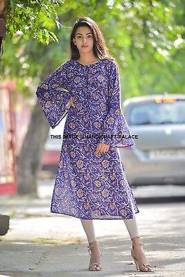 Women Ethnic Printed Kurti Tunic Indian Bollywood Kurta Cotton Top Dress