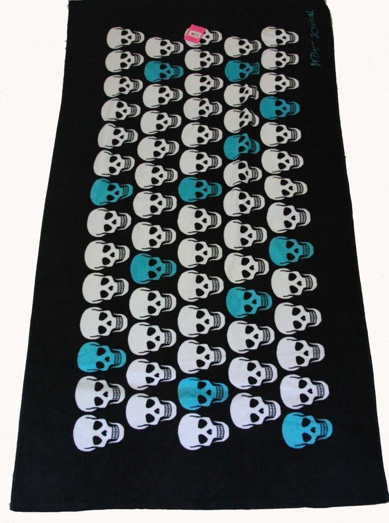 Betsey Johnson Weiß & Turquoise Skulls Skulls Skulls on schwarz Velour Beach Towel 36 X 66 NWT fef12b