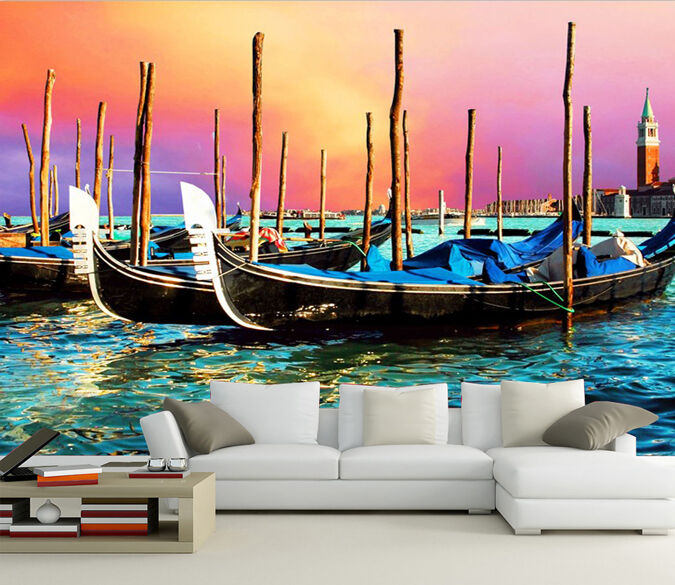 3D Boat sunset painting 0249 Wall Paper Wall Print Decal Wall Deco AJ WALLPAPER