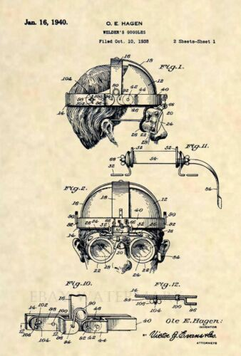 411 Vintage Steampunk Welding Mask Official Welder Goggles US Patent Art Print