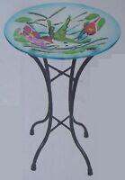 Bird Feeder Bath Hummingbird Glass With Metal Stand 11 1/2 In Diameter