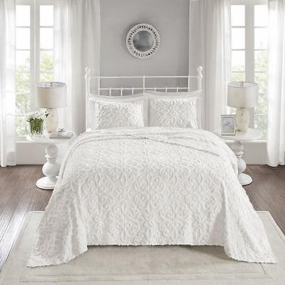 BEAUTIFUL ULTRA SOFT PLUSH IVORY WHITE CHENILLE FRINGE VINTAGE CHIC QUILT SET