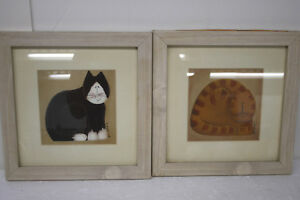 Happy-Stripped-Cats-set-of-2-Framed-Pictures-signed-by-artist-Fiddlestix