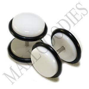 2004-White-Fake-Cheater-Illusion-Faux-Ear-Plugs-16G-Bar-00G-10mm-Look-2pcs