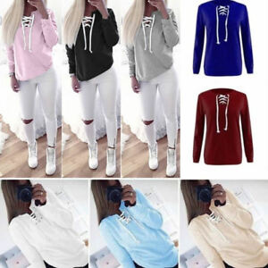 Womens-V-Neck-Lace-Up-Long-Sleeve-Pullover-Jumper-Sweater-Top-Sweatshirt-Outwear
