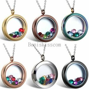 Stainless-Steel-Round-Floating-Charm-Locket-Living-Memory-Pendant-Necklace