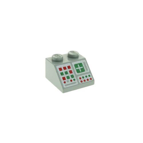 1 x Lego Dachstein alt-hell grau 45° 2x2 bedruckt Computer Set 6940 483 3039p34