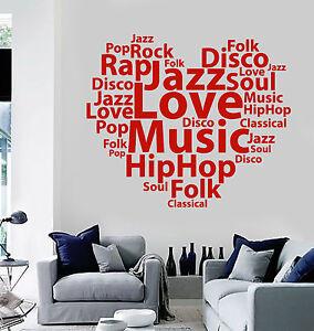 ig4703 Vinyl Wall Decal Music Words Cloud Musical Heart Stickers Murals