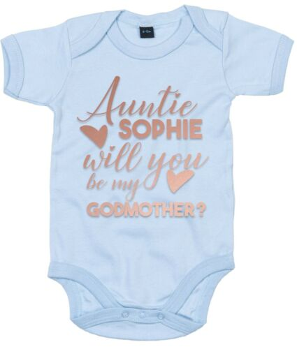 Rose Gold Auntie CUSTOM NAME Will You Be My Godmother Babygrow Vest Baby Top