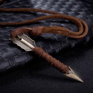 Men-Vintage-Leather-Arrow-Punk-Necklace-Pendant-Body-Choker-Long-Chain-Jewelry