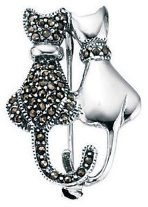 Elements 28mm 925 Polished Sterling Silver Marcasite Black & White Cats Brooch