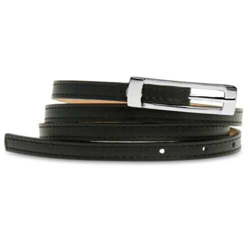 CASPAR GU296 Women Ladies Elegant Skinny Belt Thin Slim Narrow Italian Leather