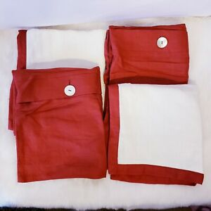 Pottery Barn Envelope Pillow Case Set Of 4 100 Linen Red