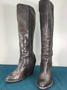 Used-Frye-Brown-Distressed-Leather-Side-Zip-Knee-High-Wedge-Womens-Boots-sz-8-M