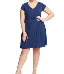 ModCloth-Flounce-Wrap-Waist-Jersey-Fit-And-Flare-Dress-In-Navy-Blue-Size-1X