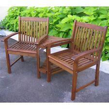 International Caravan Outdoor Wood Corner Double Chair, Brown