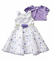 Sweet Heart Rose® Girl's 5, 6 White & Lavender Dress W/ Shrug $65