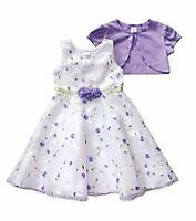 Sweet Heart Rose® Girl's 5, 6 White & Lavender Dress W/ Shrug $65