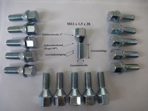 16 Pezzi bulloni ruota bulloni della ruota m12 x 1,5 x 28 sw17 cono OPEL DAEWOO nr07