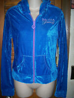 Mecca Femme Nwt's Sz L Bright Blue Velvety Zip Up Hoodie With Purple Accent